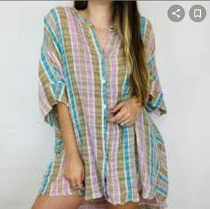 Free People Striped Linen Long Blouse button dress
